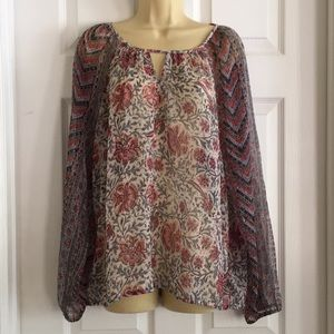 Lucky Brand sheer polyester top